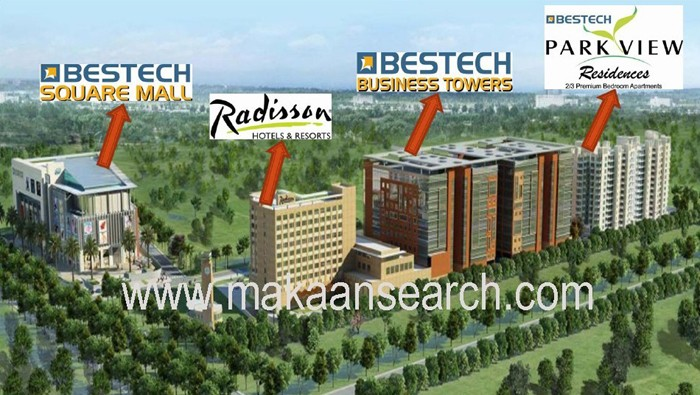 3d view of bestech square sector 66 mohali