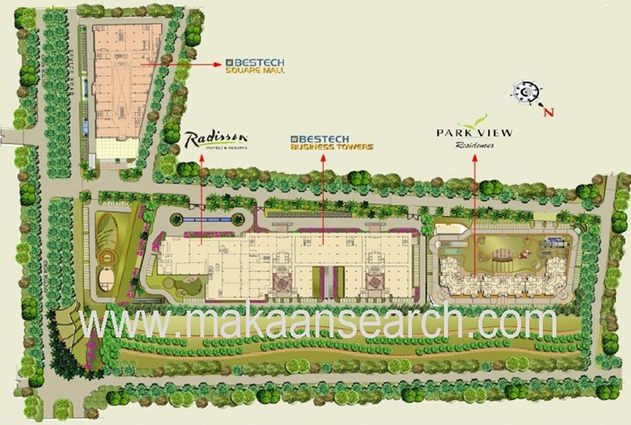 Site Plan of bestech square sector 66 mohali