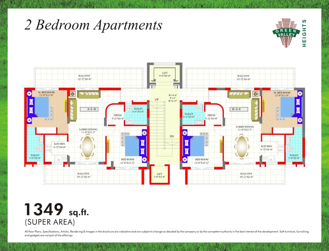layout plan of 2bhk flat of green valley heights zirakpur