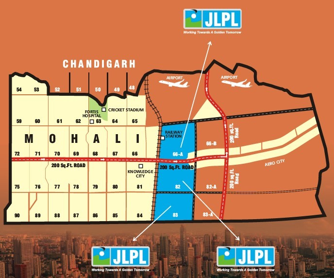 jlpl sector 82, 83, 66 mohali location map plan