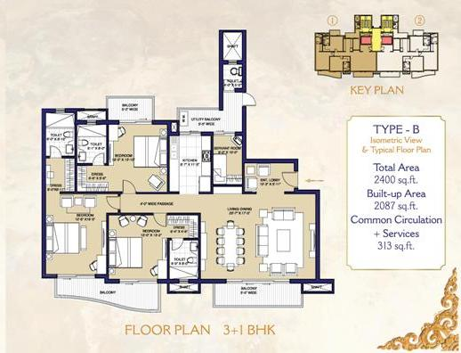 layout plan of ats casa espana mohali 3+1 bhk flat