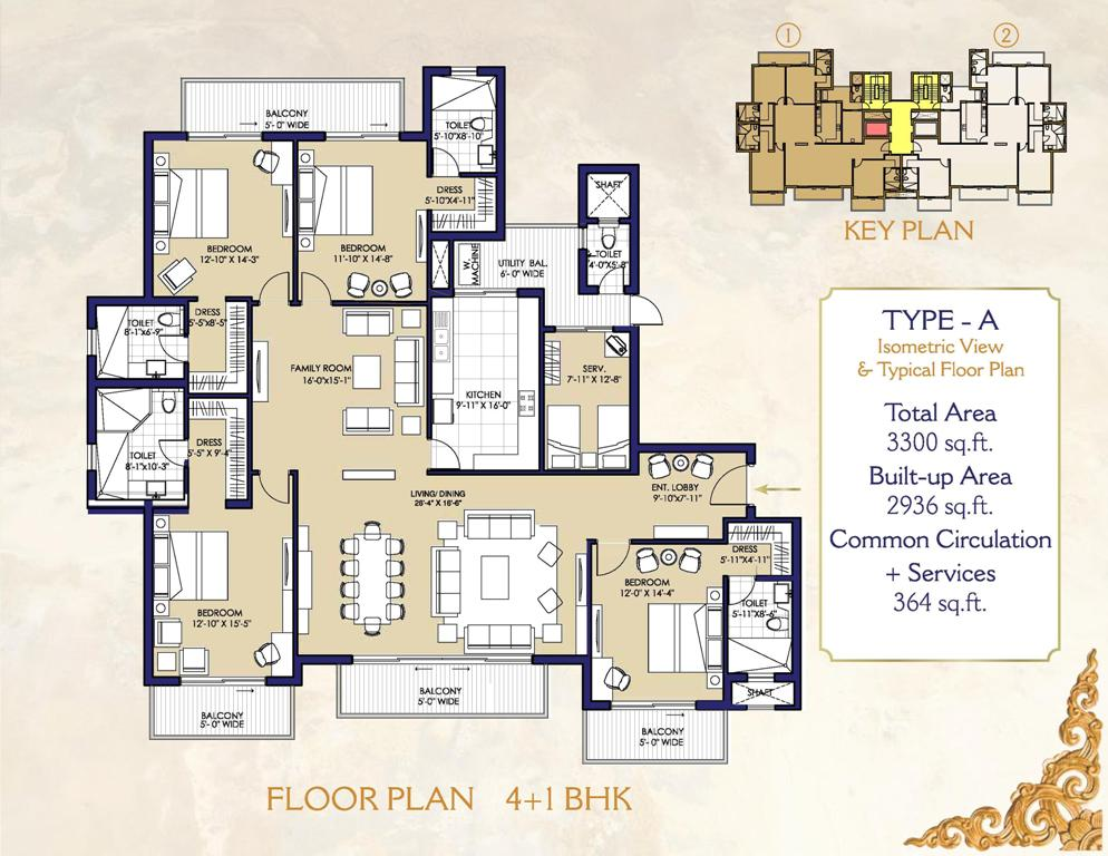 layout plan of ats casa espana mohali 4+1 bhk flat