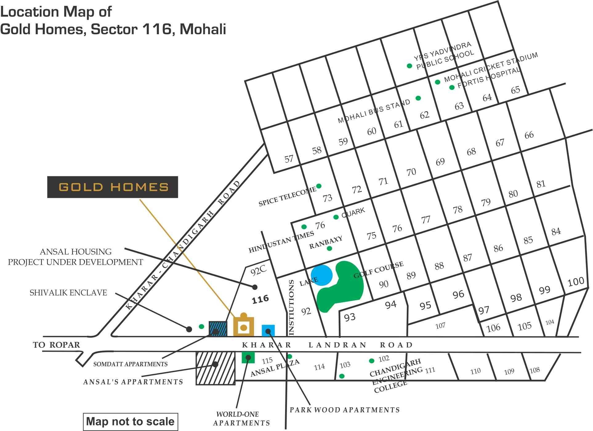 location map of gold homes sector 116 mohali