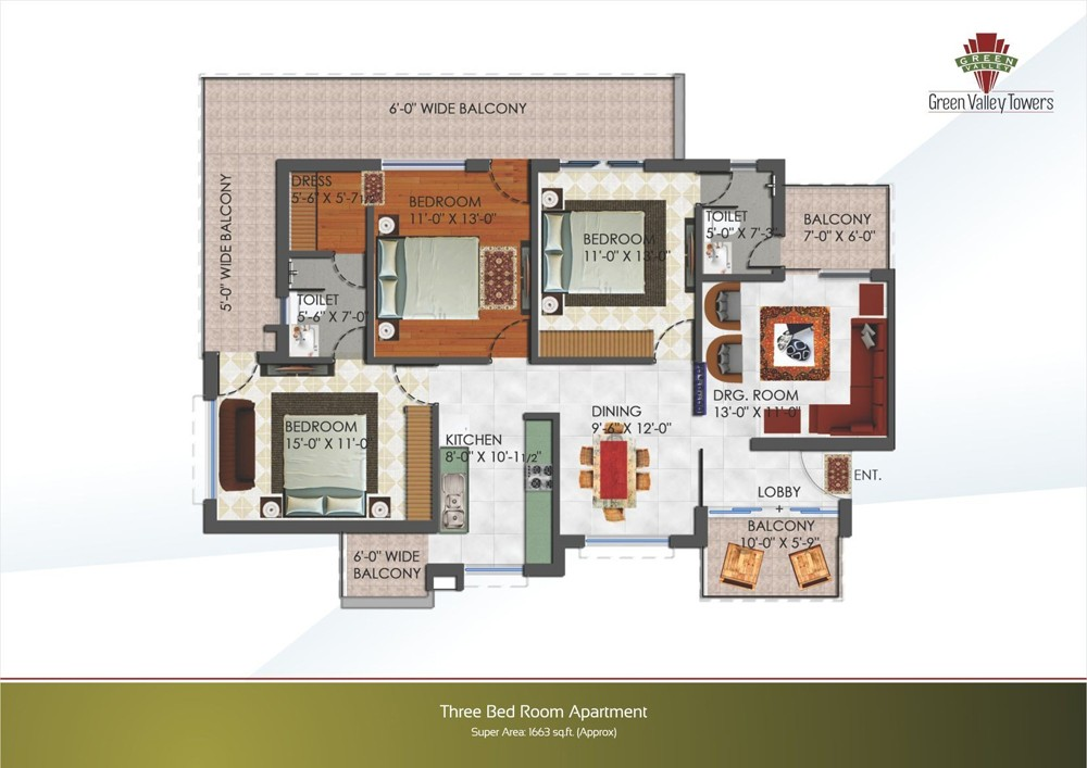 layout plan of 3bhk flat of green valley towers zirakpur