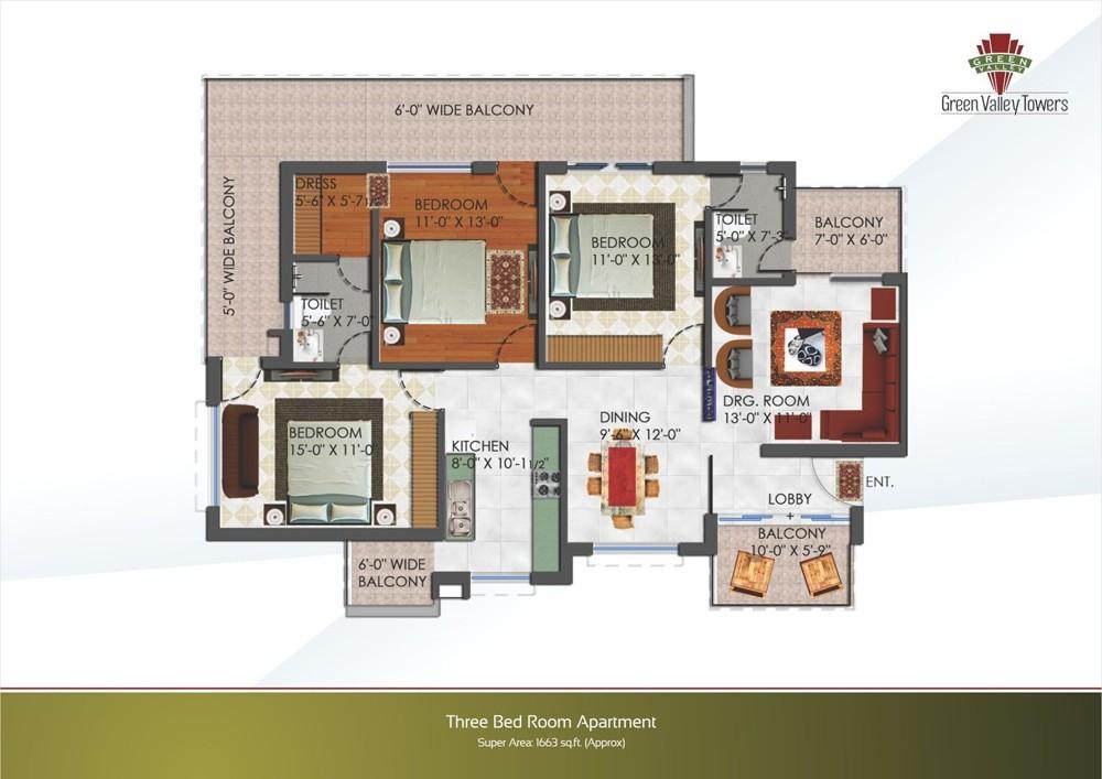 layout plan of 3bhk flat of green valley towers zirakpur