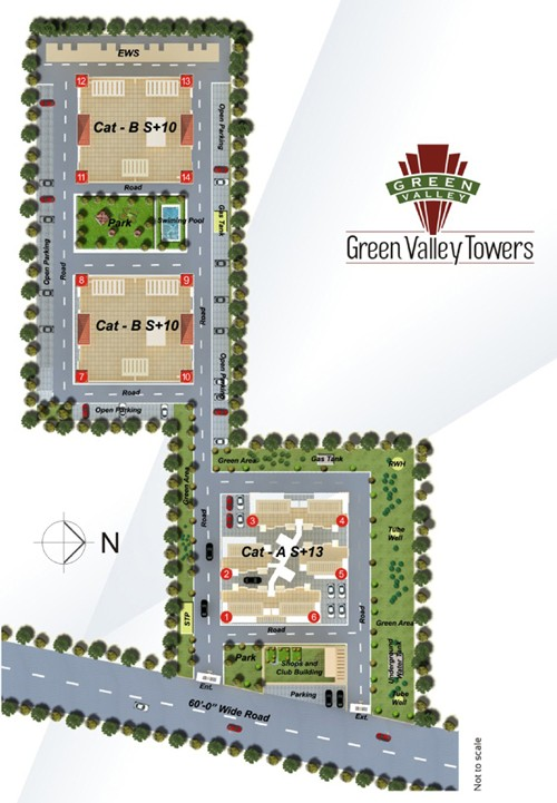 siteplan of green valley towers zirakpur