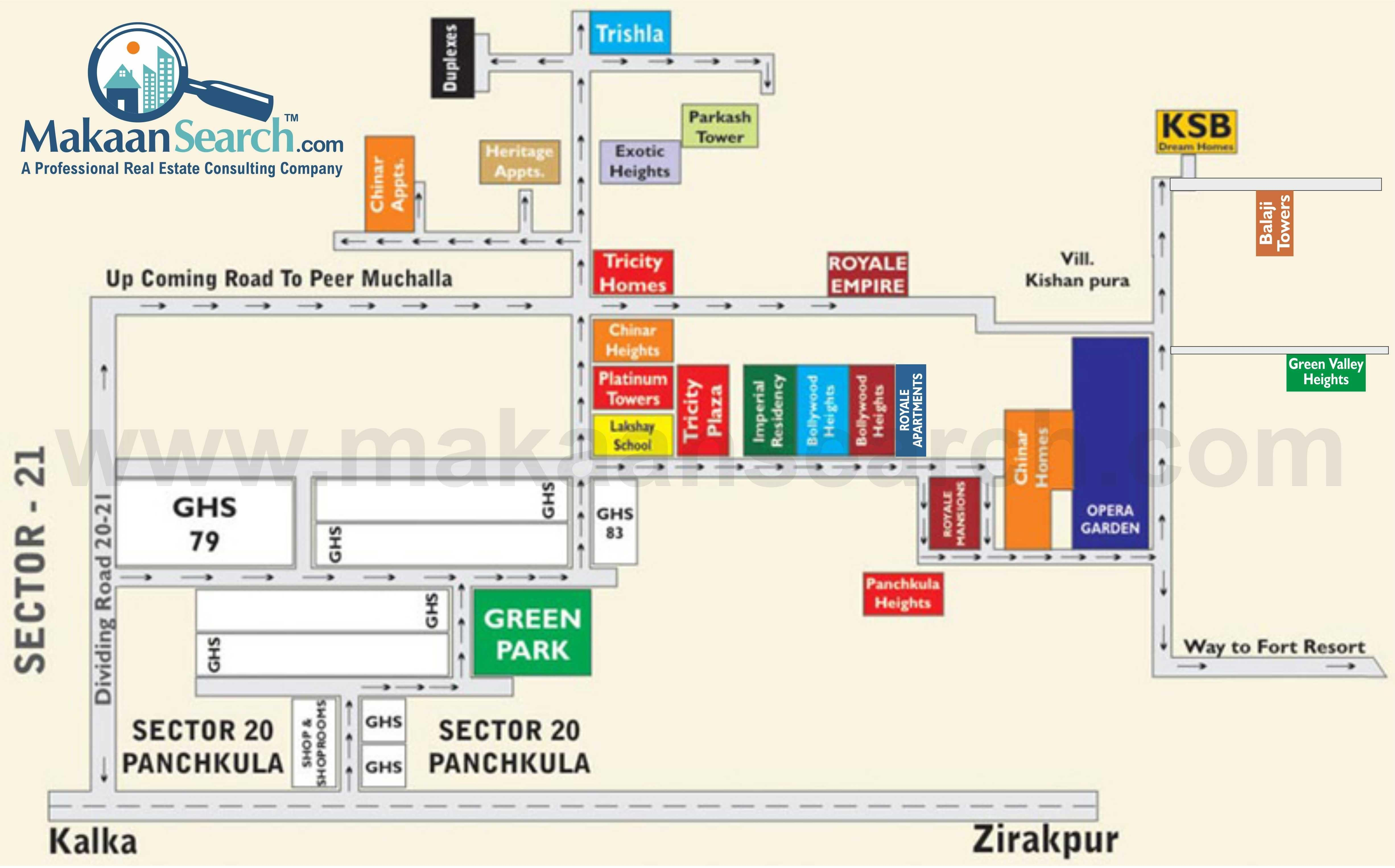 master plan of peer muchalla zirakpur green valley heights location map