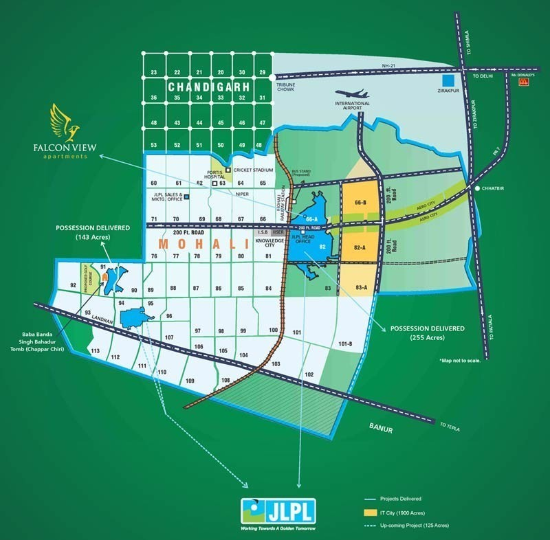 best deals of JLPL Falcon Views Flats Sector 66-A Mohali Location Map