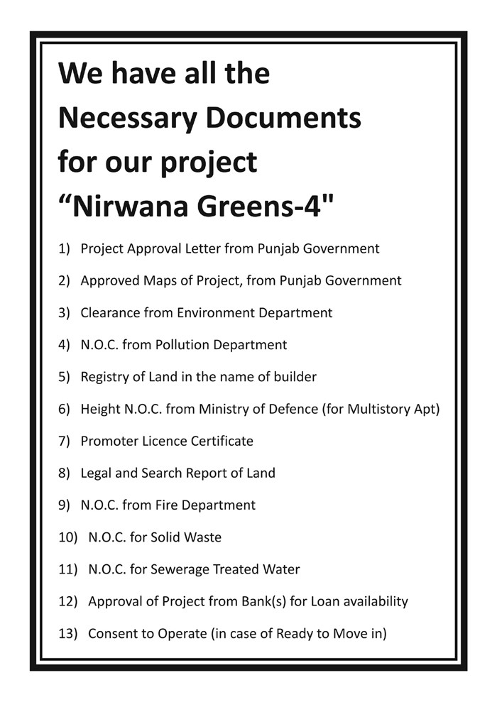 government approvals of project nirwana greens 4