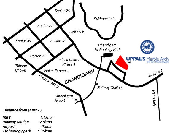 uppals marble arch location map manimajra chandigarh