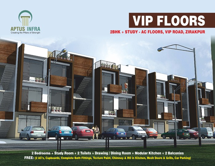 vip floors vip road zirakpru near chandigarh 3 bhk most affordable cheap flats