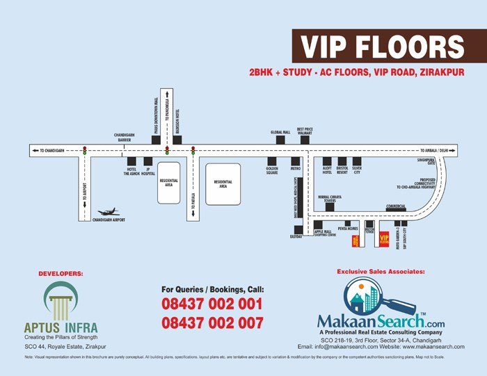 location map of vip floors vip road zirakpur