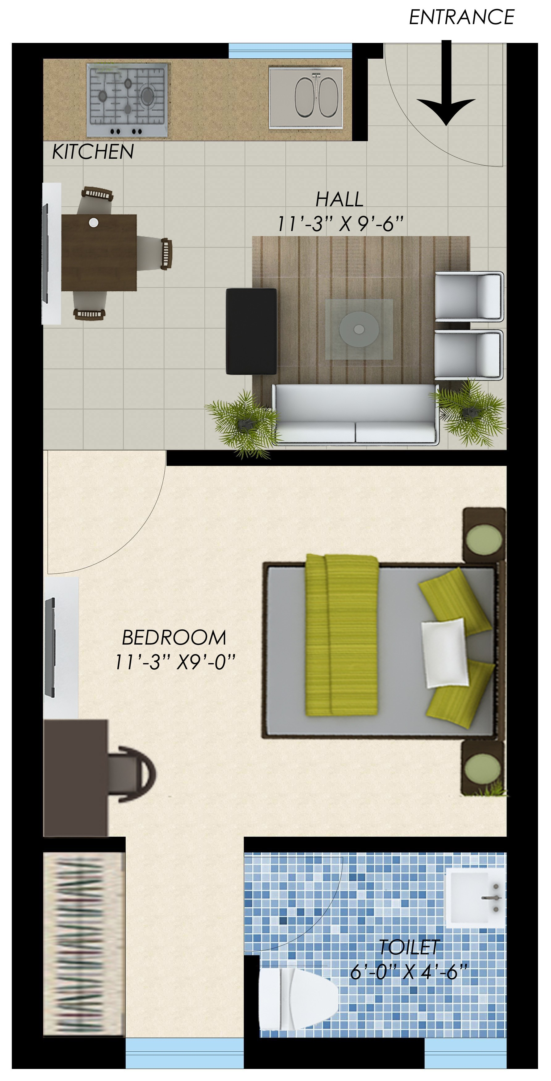 wwics imperial heights sector 115 mohali 1bhk 401 sqft flat layout design