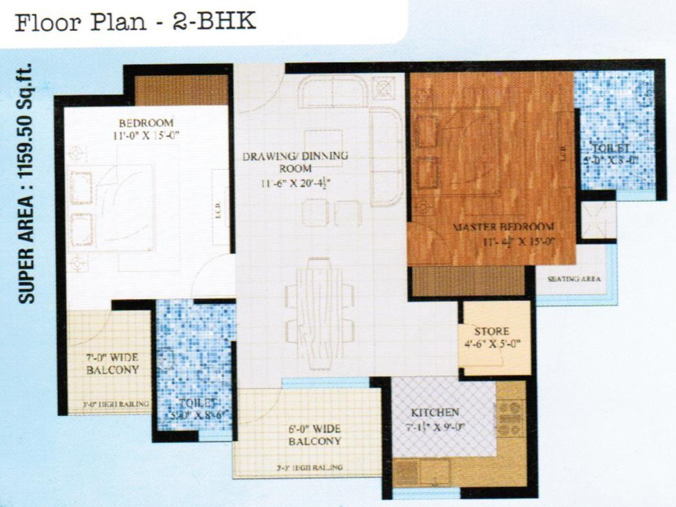 wwics imperial heights sector 115 mohali 2bhk 1160 sqft flat layout design