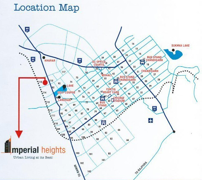 location map of wwics imperial heights sector 115 mohali